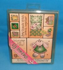D.j. inkers All Stitched Up Rubber Stamps Vintage NIP Girl Bunny Quilts