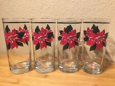Furio Poinsettia Glass Tumblers Christmass Glasses Set of 4 - A15