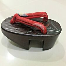 Vintage Carved Japan Small Shoes Wood Clog Collectible Figurine