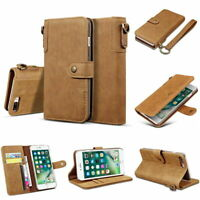 Retro Real Cow Leather Flip Wallet Case Cover Stand for Samsung Galaxy