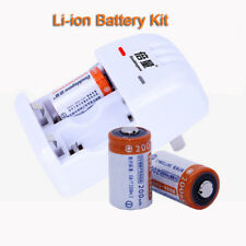 2x CR2 3V 200mAh Rechargeable Battery + Dual Slot CR2 CR123A Charger For Camera