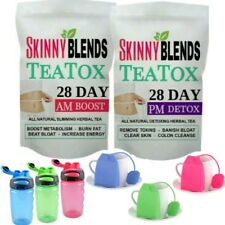 28 DAY SKINNY TEATOX - FAT BURNING DETOX TEA WEIGHTLOSS TEA - BOTTLE & INFUSER!