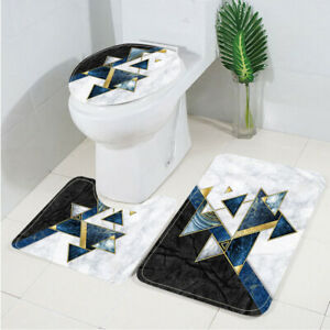 Modern art abstract cell lines Toilet Cover Rug Mat Contour Rug Set 3pcs