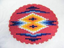 """Handmade Vintage """"Crow"""" Native American Beaded Belt Buckle"""