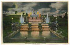 "SPARKS ILLUMINATED CASCADES FOUNTAIN SOUVENIR ,1932, SIGNED FEDOR FOTO 11"" X 7"""