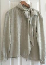 Vtg Nora Noh Womens Long Sleeve Blouse Gray Bow Size 8 100% Silk Made Korea