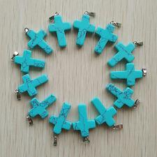 Fashion Blue Turquoise Cross Charms Pendants for DIY jewelry 50pcs/lot Wholesale