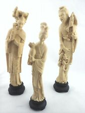 Set of 3 Chinese Asian Figures Composite Alabaster Italy Made Vintage RARE