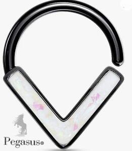 Beautifully Unusual Black & White  Opal Chevron  Septum / Tragus  Ring Hoop