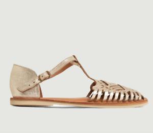 Leon & Harper Womens EU 40 UK 7 Zapopan Gold Leather Woven Flat Sandals Shoes