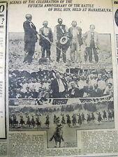 1911 newspaper with photos Civil War Veterans 50 year Reunion BATTLE OF BULL RUN