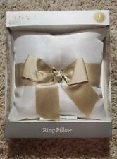 Nib Way To Celebrate! Ring Pillow Wedding White Gold Glitter Bow