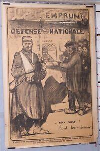ADLER AFFICHE PROPAGANDE EMPRUNT DEFENSE NATIONALE GUERRE 14-18 WW1 1917