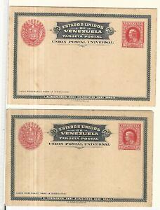 Venezuela: 1911-1912; 2 postal stionery news with light rust... VS0139