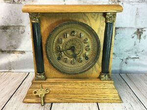 Vintage Sessions Oak Mantel Shelf Clock with Key Glass Cover Dial Pillars 1930s