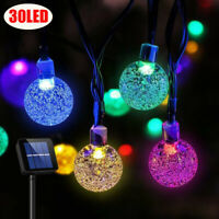 Solar 30 LED String Light Crystal Ball Garden Yard Decor Lamp Outdoor Waterproof