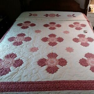 Hand Made Appliqued Queen Quilt in Shades of Rose & Pink