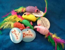 Zanies Corded Mice with Feather Tails & Rattle Cat Toy. Lot of 20.