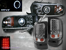 94-01 Dodge Ram Projector Black Headlights CCFL Halo & LED Smoke Tail Lights 96