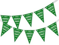 St Patrick Day - Clovers Pattern - Bunting Banner 15 flags Green Ireland Feast