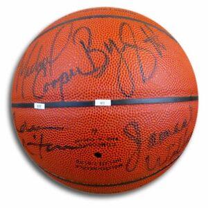 Magic Johnson Wilkes Multi Signed Autographed Basketball Lakers 6 Sigs COA