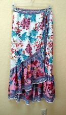 a79777f1b Cupio Faux Wrap Skirt XS Pink Floral Ruffle Boho Layered Xtra Small  Langenlook