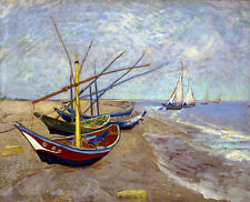 Fishing Boats On The Beach by Van Gogh, Giclee Canvas Print, in various sizes