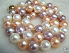 "Pretty New 8mm Multi-Color Round South Sea Shell Pearl 18"" Necklace w/Gold Clasp"