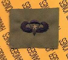 US Army Airborne Parachutist wing 1 Combat Jump OD Green & Black cloth patch