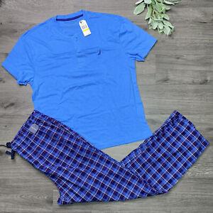 Nautica Mens Medium Pajama Set Logo Henley Shirt Plaid Pants Sleepwear New