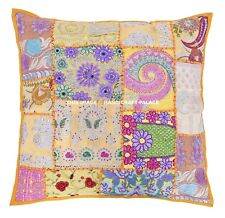 Yellow Patchwork Embroidered Pillow Case Indian Home Sofa Cushion Cover Throw 24
