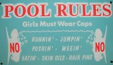 Vintage POOL RULES Sign Girls Must Wear Caps No Runnin Jumpin Weein Hair Pins