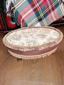 Vintage Low Floral Queen Anne Tassel Fringe Footstool