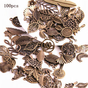 50Pc Retro Mixed Flower Leaves Charm  Pendant  DIY Jewelry Making Craft Finding