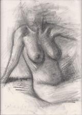 SEATED FEMALE NUDE Figure Model Sketch Art 9x12 Original Charcoal Life Drawing