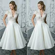 Vintage Ladies white Lace Bride Dresses Tea Length Wedding Gowns Wedding Dress