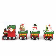 4 Piece Christmas Snow Globe Train Decoration ~ Xmas Snow Globes