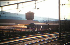 KODACHROME 35mm Slide Switzerland Zurich Train Station Railroad Trees Logs 1967!