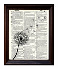 Single Dandelion - Dictionary Art Print Printed On Authentic Vintage Dictionary