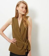 New Look Olive Green Tie Waist Wrap Sleeveless Top Size UK 12 DH088 RR 26