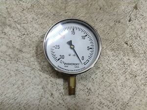 Ashcroft 1008 30 in Hg -0 Vacuum Gauge (TB)