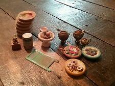 Vintage miniature doll wood homemade plates washboard cups churn furniture food