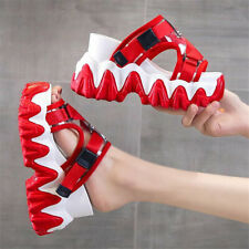NEW Womens Chunky Casual Slippers Wedge Strap Sandals High Heel Slipper Shoes