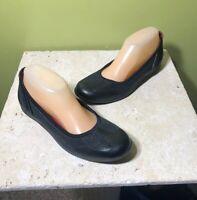 Ecco Womens Shoe Sz 38 Slip On Flats Comfort Foam Insole Leather Round Toe