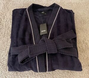 Hugo Boss Dressing Robe Gown - Navy - Size M - Signature Branding - NEW/TAGS