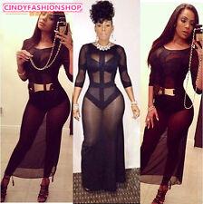 Womens Clubwear 3/4 Sleeves See Thru Mesh White Slim Bodycon Bandage Long Dress