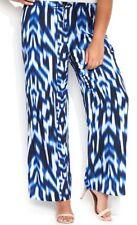 Calvin Klein Woman Pants Sz 1X Regatta Blue White Drawstring Wide Leg Casua Pant