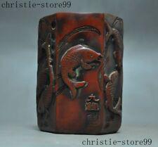 Old Chinese Resin Hand carved fish goldfish Carp Statue Brush Pot pencil vase