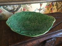 Antique Green Majolica English Leaf Comport Compote