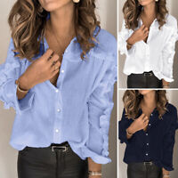UK Womens Long Sleeve Frill Ruffled Tops Casual Loose Button Down T-Shirt Blouse